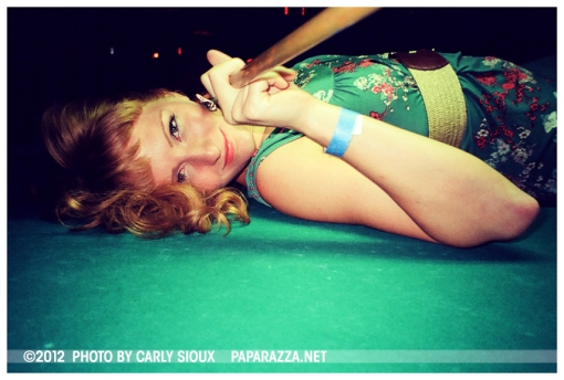 Ellena on Pool Table  3 @ Racoon Lodge, July12