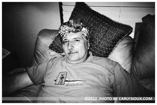 Father wrapped in Head Scarf, Ohio Sept2012