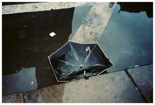 Umbrella, Puddle, Reflection, Existentialism, Street Poetry, Mar13