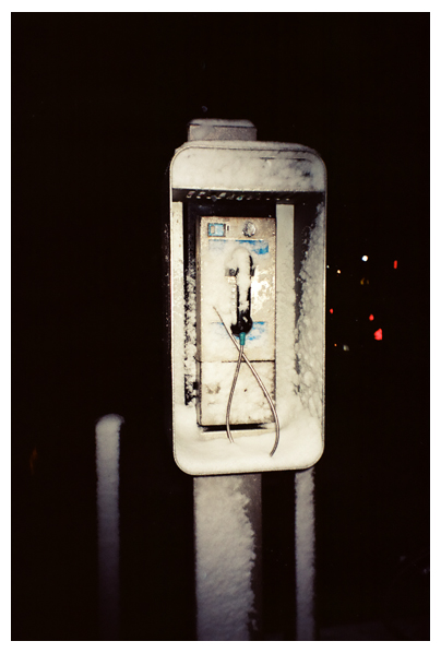 Snow, Pay Phone,Voyeur, Clinton hill, Mar13
