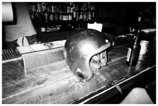 Helmet on Bar, THe drink Jul13