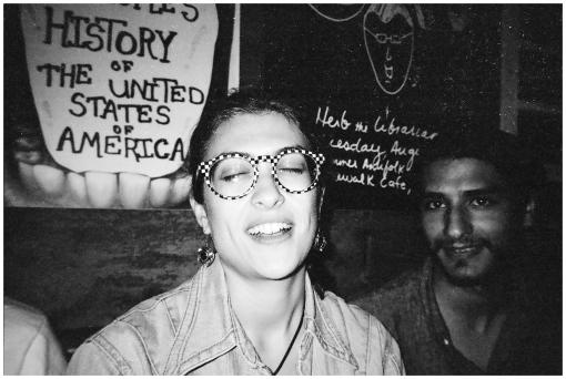Sarah in Alfredo's Glasses @ Sidewalk Cafe, Aug13