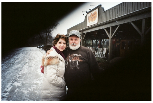 Mom and Dad at Cracker Barrel, Columbus, Dec13