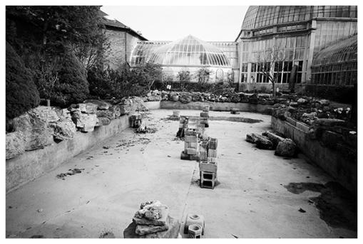 Belle Isle Conservatory, Empty Garden Pool, DT Apr15